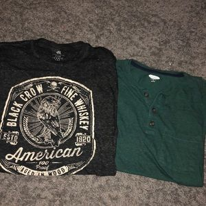 Two men's t- shirts size medium old navy rock rep